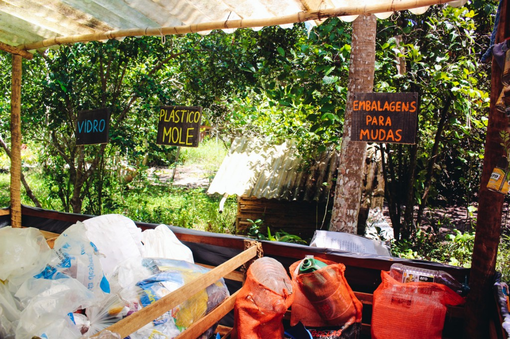 The recyling station in Piracanga sorts different materials and most of them are reused and recycled locally.