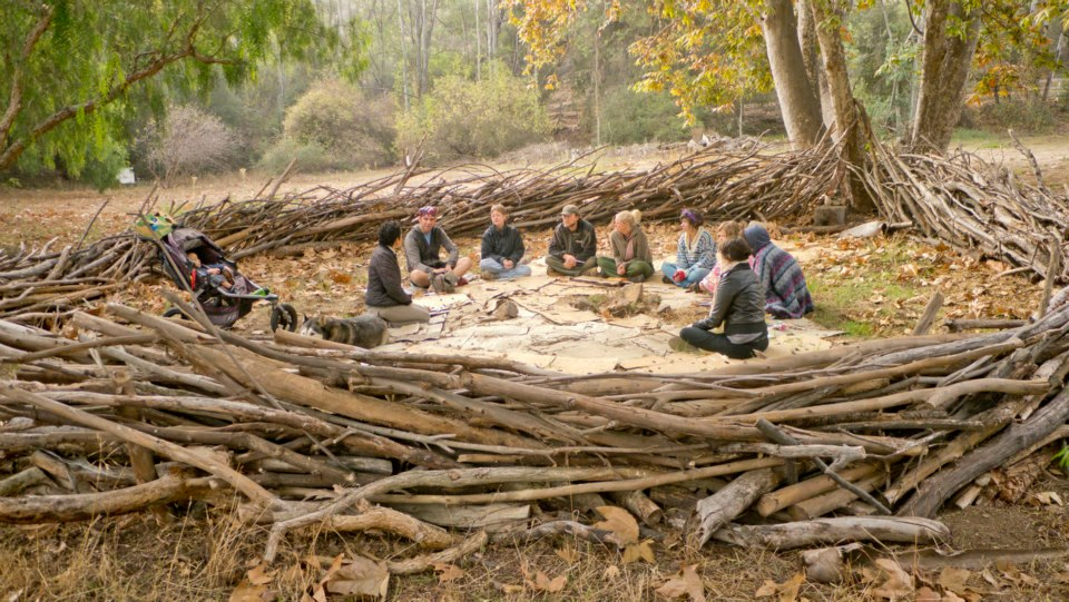 """The Nest"" a handmade structure that we crafted for one of our first events here- we hold sacred fires and circles here."