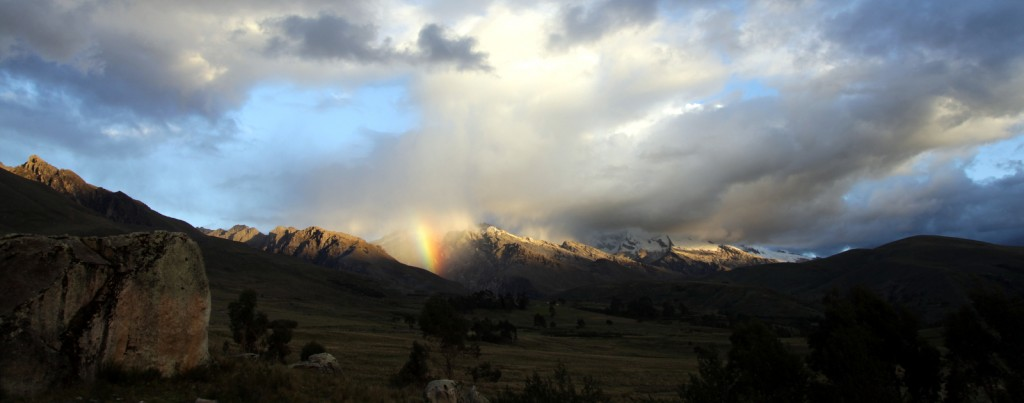 Rainbow view from the Living-Change location in the Peruvian Andes