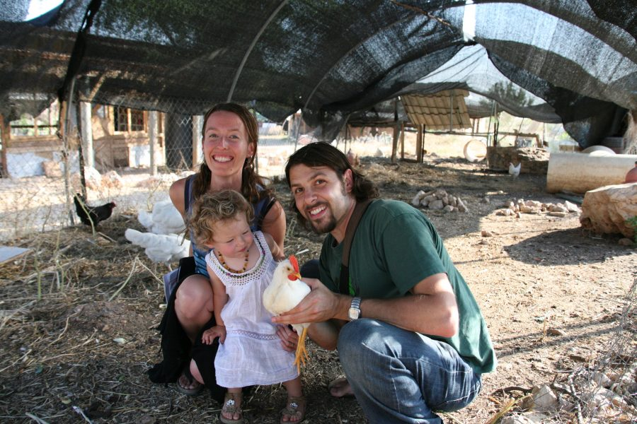 Louis and Juliana at the Hava ve Adam permaculture project in Israel with Lila