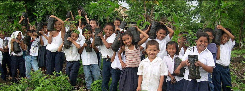Children from the island in Nicaragua learn the importance of planting trees.