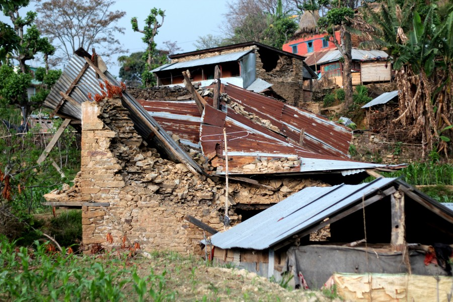 Home in Gorkha district destroyed by April 25 earthquake. Photo by Brandon Bodhi Denton
