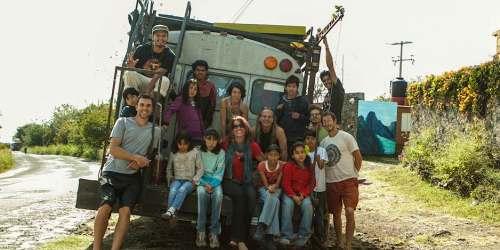 Earth Odyssey Eco Bus Tour builds Compost Toilet at Orphanage